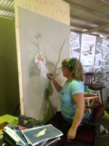 Live art Major Mitchell Cockatoo by Jenny McCracken at Dubbo Show
