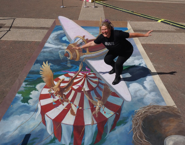 3d chalk art plane over circus tent at Brisbane Festival