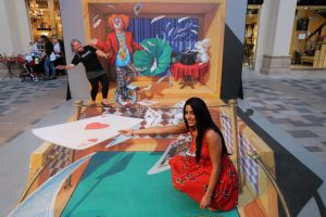 Circus in a box 3d street painting