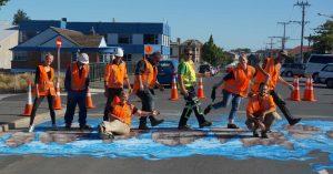 road workers on 3d pedestrian crossing