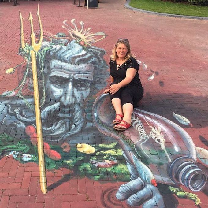 Plastic Poseidon 3D chalk artwork by Jenny McCracken