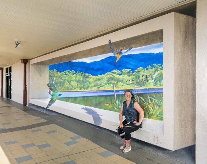 Flights of Fancy mural by Jenny McCracken in Mareeba