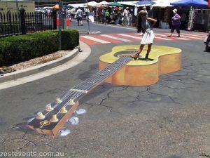Tamworth-3D-chalk-art-guitar cowgirl-Rudy-Kistler-Zest-Events