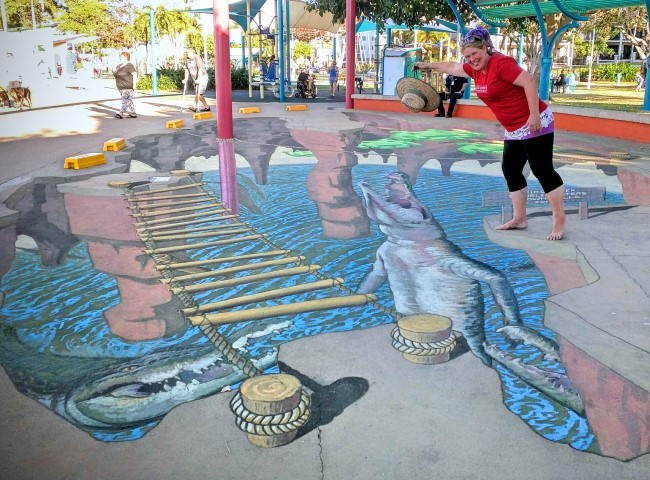 Croc sighting at Townsville's Strand Ephemera 2015