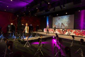 Shannon Keane Matrix Canvas Catwalk Runway with models. Art in background
