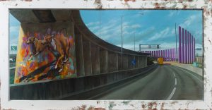 Painting of a bridge with streetart