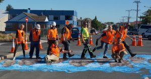 road workers on 3d pedestrian crossing