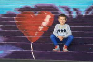 stair art boy with street art heart