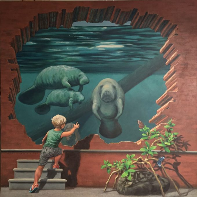 Permanent mural for Manatee exhibit Arnhem by Jenny McCracken