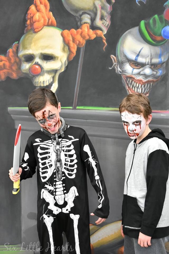 Boys posing in 3D artwork by Jenny McCracken. Photo Credit Little Six Hearts.