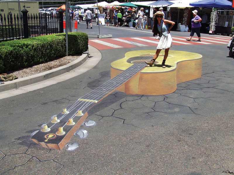 3D Chalk Art Tamworth Guitar Cowgirl Rudy Kistler Zest Events International