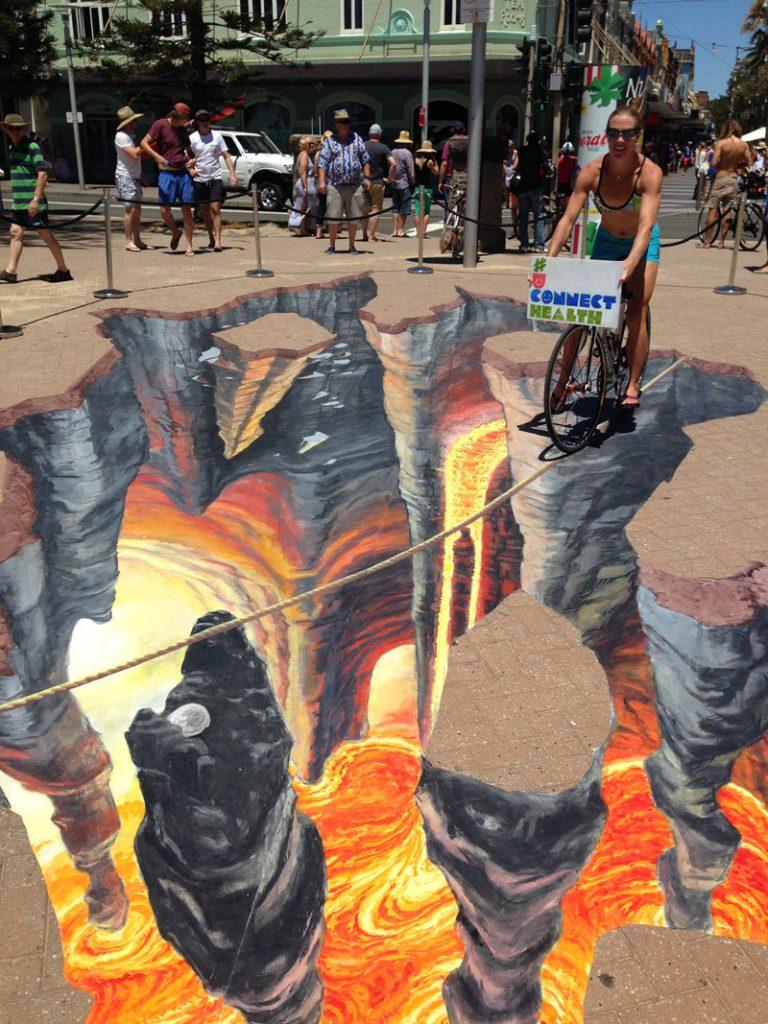 3D Street Art Fiery Chasm Manly Jenny McCracken Zestei
