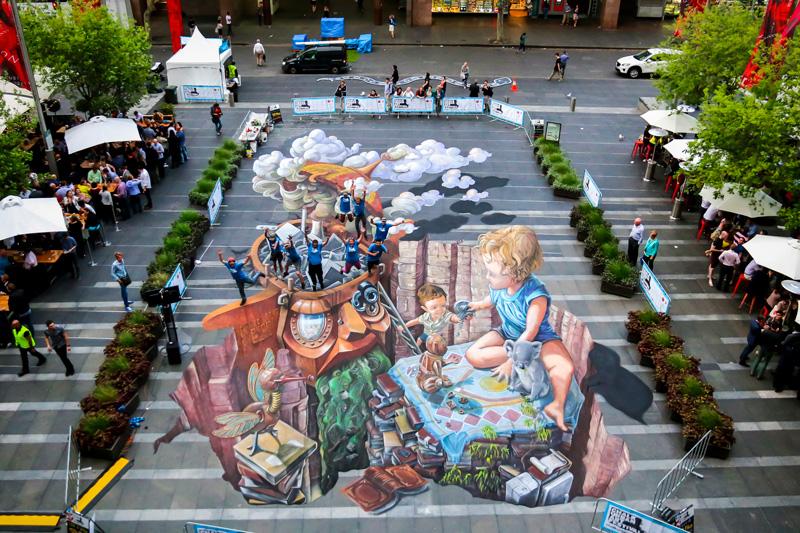 Australia's Largest 3D Street Painting Circular Quay Chalk Urban Art Zestei