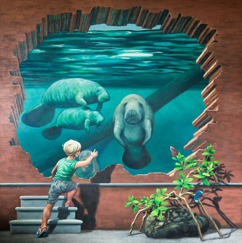 mural of boy looking at dugongs