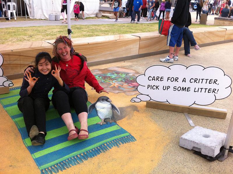 Jenny McCracken Franksto Save A Critter Pick Up Your Litter Penguin Chalk Art Anti Litter Zestei