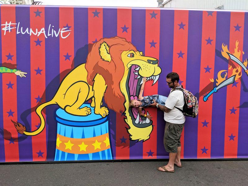 Luna Park 2D Pop Art Circus Photo Wall Lions Child In Mouth Shannon Keane Zestei