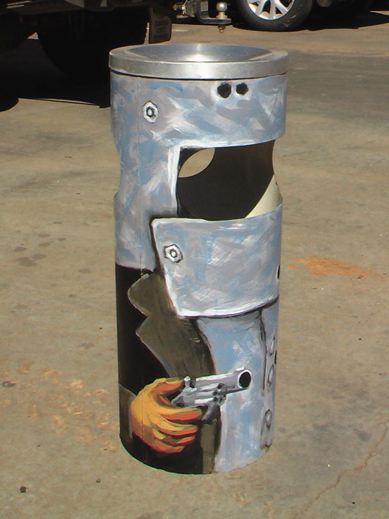Ned Kelly Urban Art Rubbish Bin Side Rudy Kistler Zest Events International