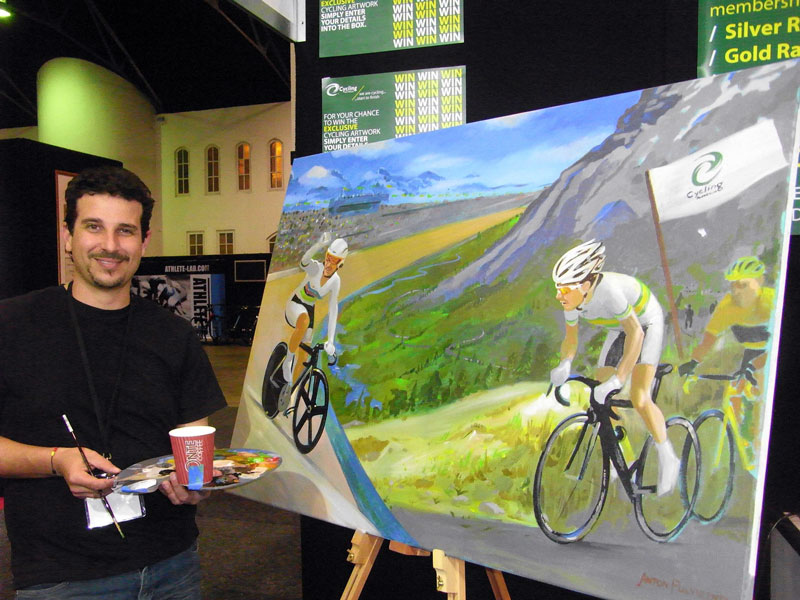 painting of cyclists