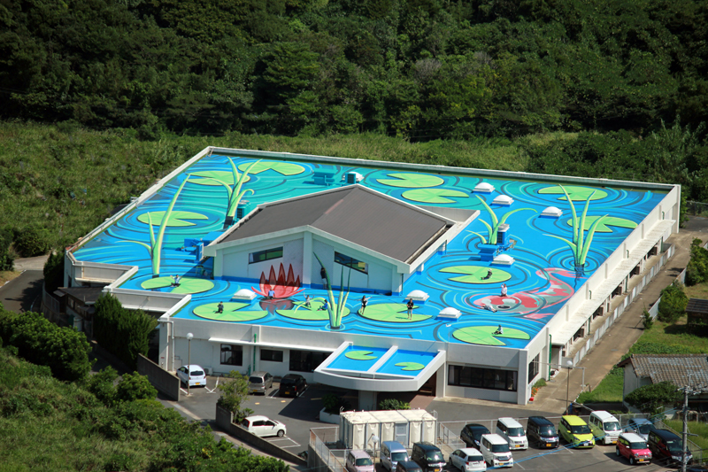 Rooftop mural Japan by Zest Artist Rudy Kistler Zest Events International