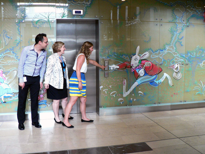 Temporary Alice In Wonderland Mural On Glass Zest Events International