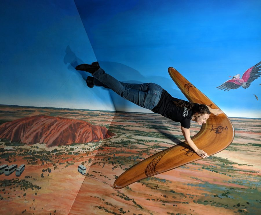 Andi Mether poses with Jenny McCrackens Boomerang 3D illusion