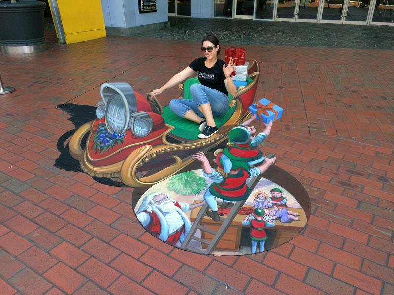 Westfield Knox 3D Street Art Christmas Sleigh Jenny Mccracken Zestei