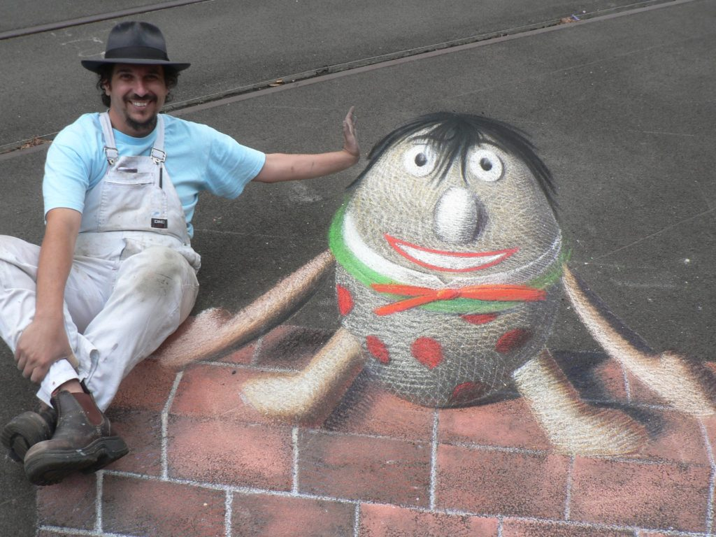 Anton Pulvirenti with 3D chalk Humpty Dumpty
