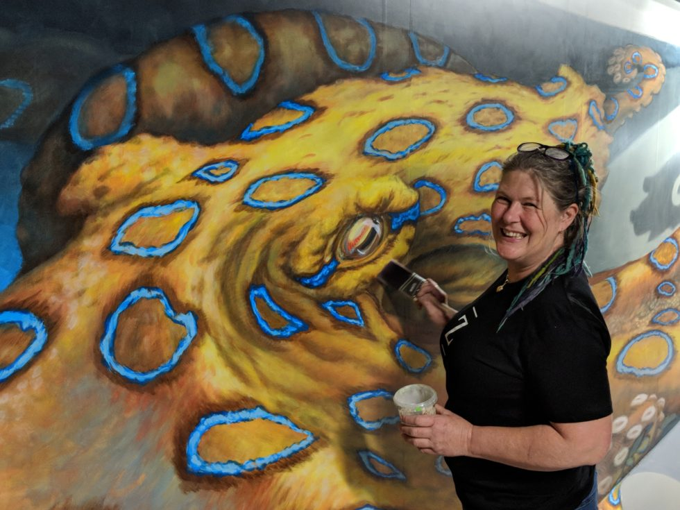 Jenny McCracken with Blue Ring Octopus 3D artwork