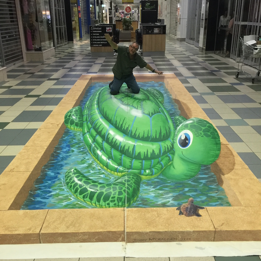 3d artwork of turtle in shopping centre