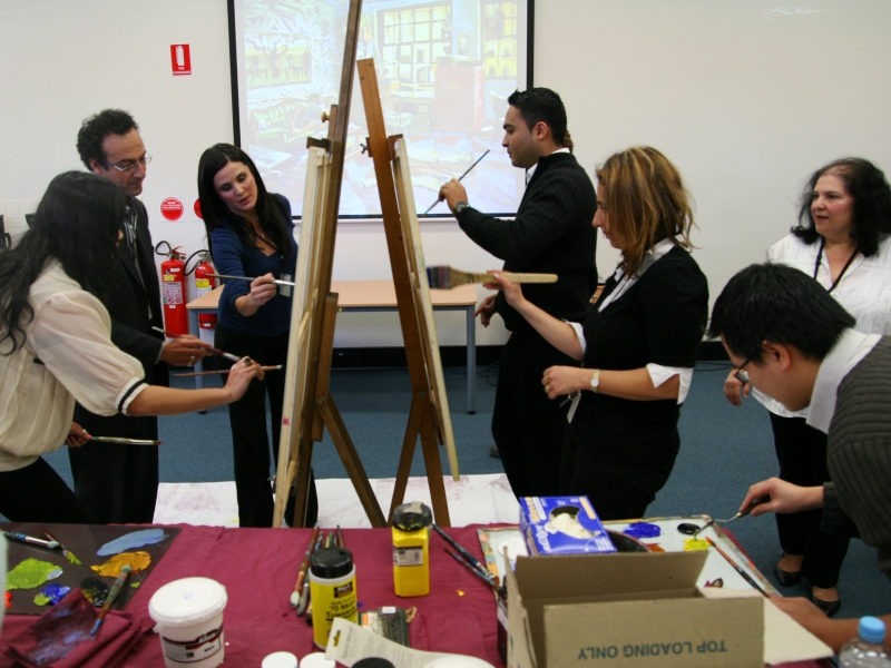 paint off session, corporate art workshop