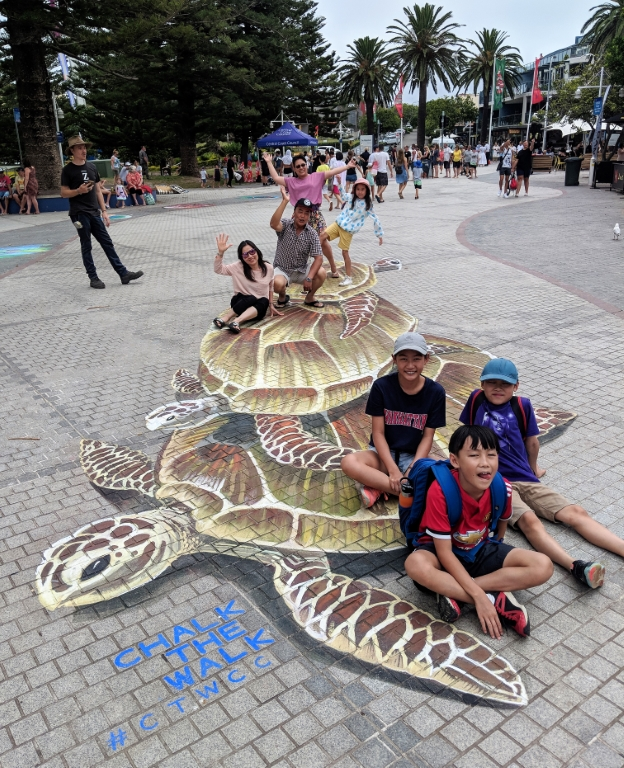 3d chalk art sea turtle