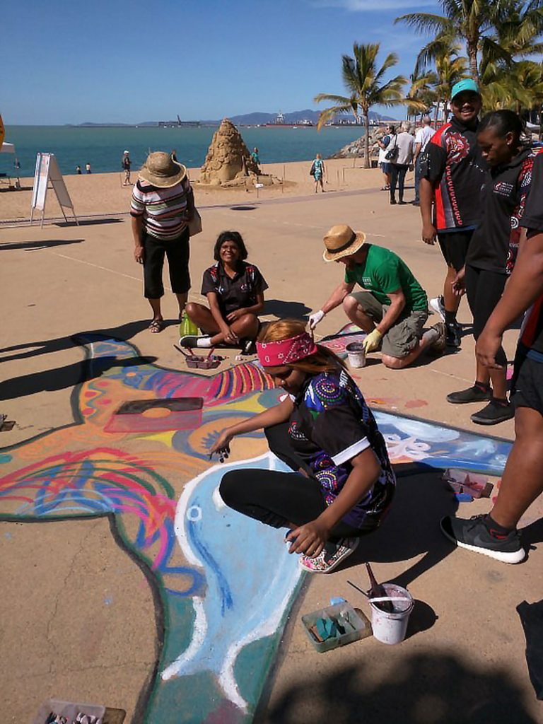 Chalk art workshop at Strand Ephemera Townsville